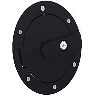 All Sales 6070KL Race Style Billet Fuel Door 7'' Ring O.D. 5 1/8'' Door O.D.-Flat Black Ring and Locking Door, 1 Pack