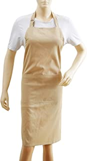 Kitchen Apron, 100% Cotton Apron For Women & Men, Eco Friendly, Textured, Solid Beige, Premium Quality Made With Fine Yarn, Size 26 X 35
