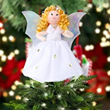 OurWarm Christmas Tree Topper Angel Xmas Tree Topper Unique Design 7 Inch Christmas Trees Ornament Shiny Angel White Dress Holiday Decoration