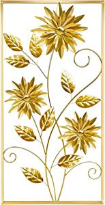 Meekear Gold Wall Sculptures, 39 Inch Golden Rectangular Metal Wall Decor with Frame, Gold Metal Flower Wall Art Sculpture for Living Room, Bedroom, Office, Study, Large