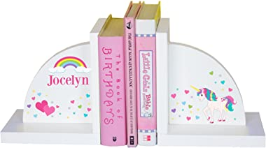 MyBambino Girl's Personalized Unicorn Bookends