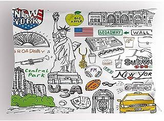 4Pcs 18X18 Inch Funda De Almohada Americana,Museo Metropolitano De La Cultura De La Ciudad De Nueva York Broadway Crossroad Wall Street Sketch Style,Del Hogar Funda De Almohada Impresa