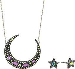 Moon Pendant Necklace & Star Stud Earrings Set
