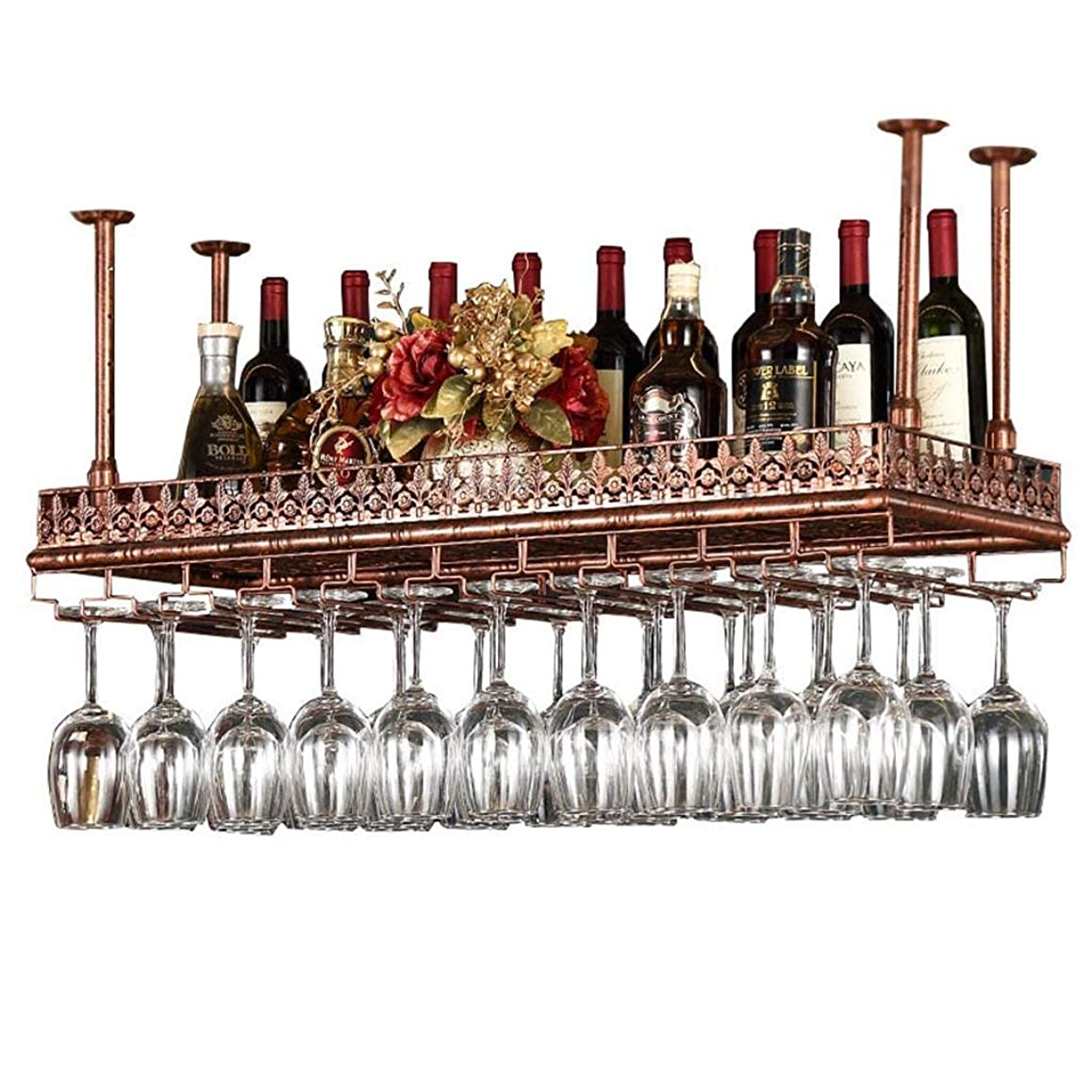 抵抗する荒野上級天井のワインラックブロンズメタルアイアンハンギングワイングラスホルダー収納ゴブレット脚付きグラスラック100分の80/120センチメートルバーの装飾陳列棚