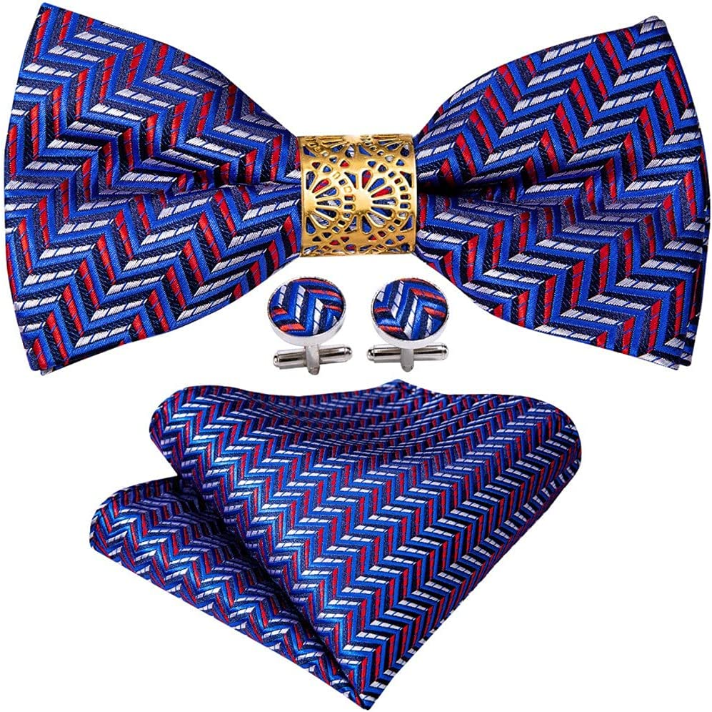 LQGSYT Purple Striped Silk Pre-Bow Tie for Men Wedding Accessorie Adjustable Butterfly Handky Removable Gold Ring Set (Color : Purple Striped, Size : One Size)