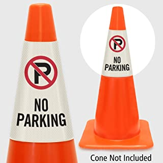 """SmartSign """"No Parking"""" Bright Reflective Cone Message Sleeve, [Cone Not Included]"""