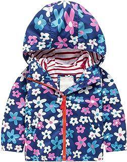 KINDOYO 子供服 女の子 ジャケット キッズ ウインドブレーカー ドット柄 フード付き 防風 アウター 上着, ブルー