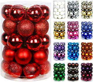 """Super Holiday 34ct Christmas Ball Ornaments 2.36"""" Small Shatterproof Christmas Tree Decorations Perfect Hanging Ball for H..."""