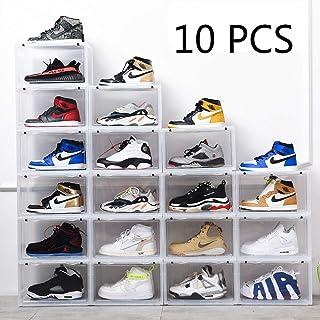 K.T.Z Shoe Storage Container Shoe Box Shoe Display Stackable Shoe display box Sneaker Box Stackable Clear for Men Women (D Style Transparent, 10 PCS)