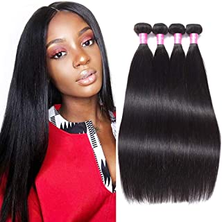 FQ Peruvian Straight Human Hair 4 Bundles (20 22 24 26) 10A Unprocessed Peruvian Virgin Human Hair Weave Bundles Straight Human Hair Bundles Peruvian Straight Hair 4 Bundle Deals