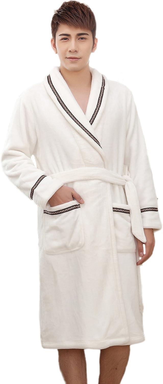 Honeystore Men's Soft Warm Plush Kimono Microfiber Fleece Terry Spa Bath Robe