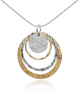 Stera Jewelry Two Tone 925 Sterling Silver & 14k Gold Filled Graduated Circles Pendant Necklace, 18""