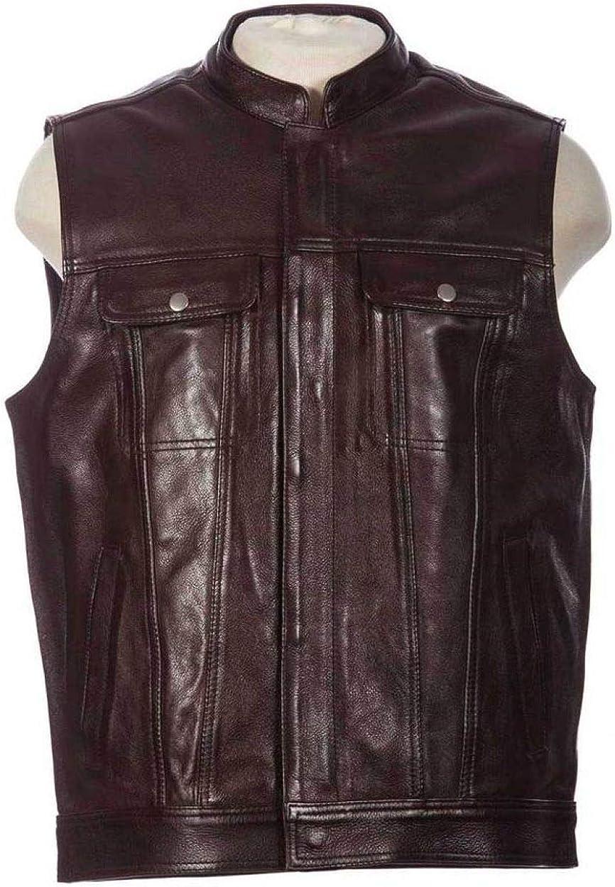 Men's Biker Rocker Rider motorcycle Motorbike Racer Retro Club Genuine Cowhide Leather sleeveless vest By Reclaimed Vintage (XS, Dark brown)