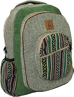 Large Green Hemp Backpack - Pure Natural Hemp Cotton Backpacks for Men & Women - Multi Pocket Organic Himalayan Boho Bag packs for Laptop, Books, Travel & Hiking - Bohemian/Hippie Tribal Bags