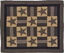 VHC Brands Classic Country Primitive Pillows & Throws - Teton Star Tan Quilted Throw, Dark Khaki