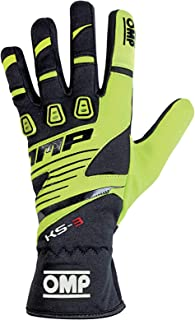 OMP KS-3 Karting Gloves (Size Medium,  Black/Yellow)