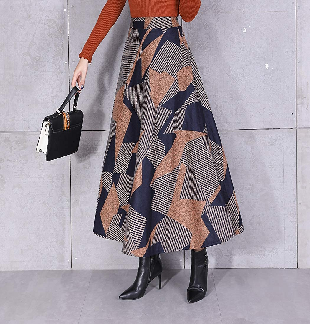 BiilyLi Jupe Longue Femme Vintage /Él/égant Jupe pliss/ée ray/ée /à Carreaux Haute Taille Jupe en Laine Mode Hiver Chaud Taille /élastique