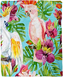 rouihot 60x80 Inches Flannel Throw Blanket Watercolor Australian Cockatoo on Flowers Parrots Alstroemeria and Tropical Home Decorative Warm Cozy Soft Blanket for Couch Sofa Bed