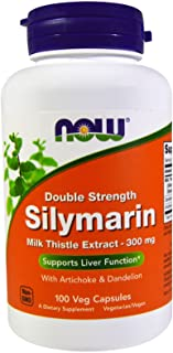 NOW Foods - Silymarin Milk Thistle with Artichoke and Dandelion Double Strength 300 mg. - 100 Vegetable Capsule(s)
