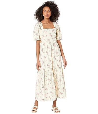 WAYF Tie Back Puff Sleeve Midi Dress