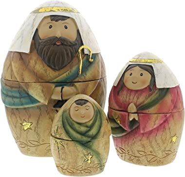 Holy Family Three Kings and Shepherd Christmas Nativity Nesting Dolls Set of 9