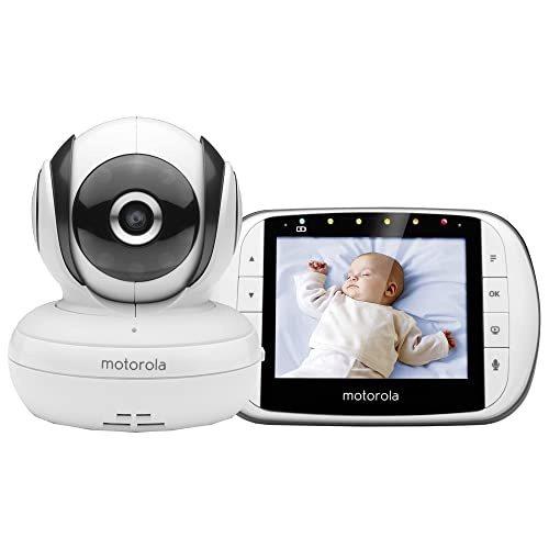 """Motorola MBP 36S/SC - Moniteur pour bébé avec écran LCD couleur 3,5 """" - mode éco et vision nocturne - blanc"""