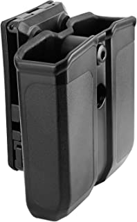 Double Magazine Holster, 9mm .40 Double Stack Mag. Universal Holder Double Stack Mag Holster with 1.25''-2.25'' Belt Clip.
