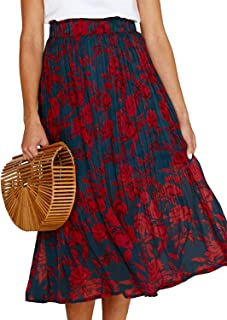 RichCoco Women's Casual High Elastic Waist A Line Print Pleated Pockets Vintage Dresses Polka Dot Midi Skirts
