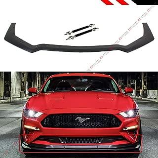 Fits for 2018-2019 Ford Mustang GT Ecoboost Performance Pack Style Add-On Front Bumper Lip Splitter + Adjustable Black Splitter Rods Bars