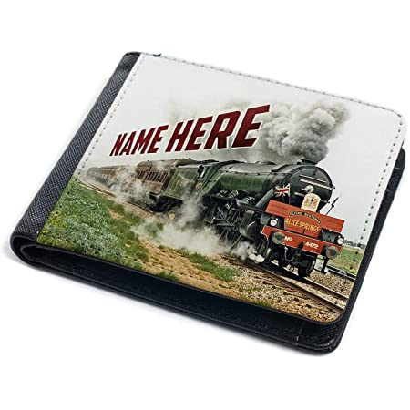 Personalised Mens Wallet Flying Scotsman Steam Train Tri-fold Card Name Gift FST02