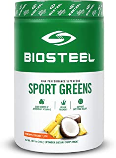 Biosteel Sports Greens - Powdered Greens Antioxidant Superfood, Vegan and Sugar Free, Pineapple Coconut, 30 Servings
