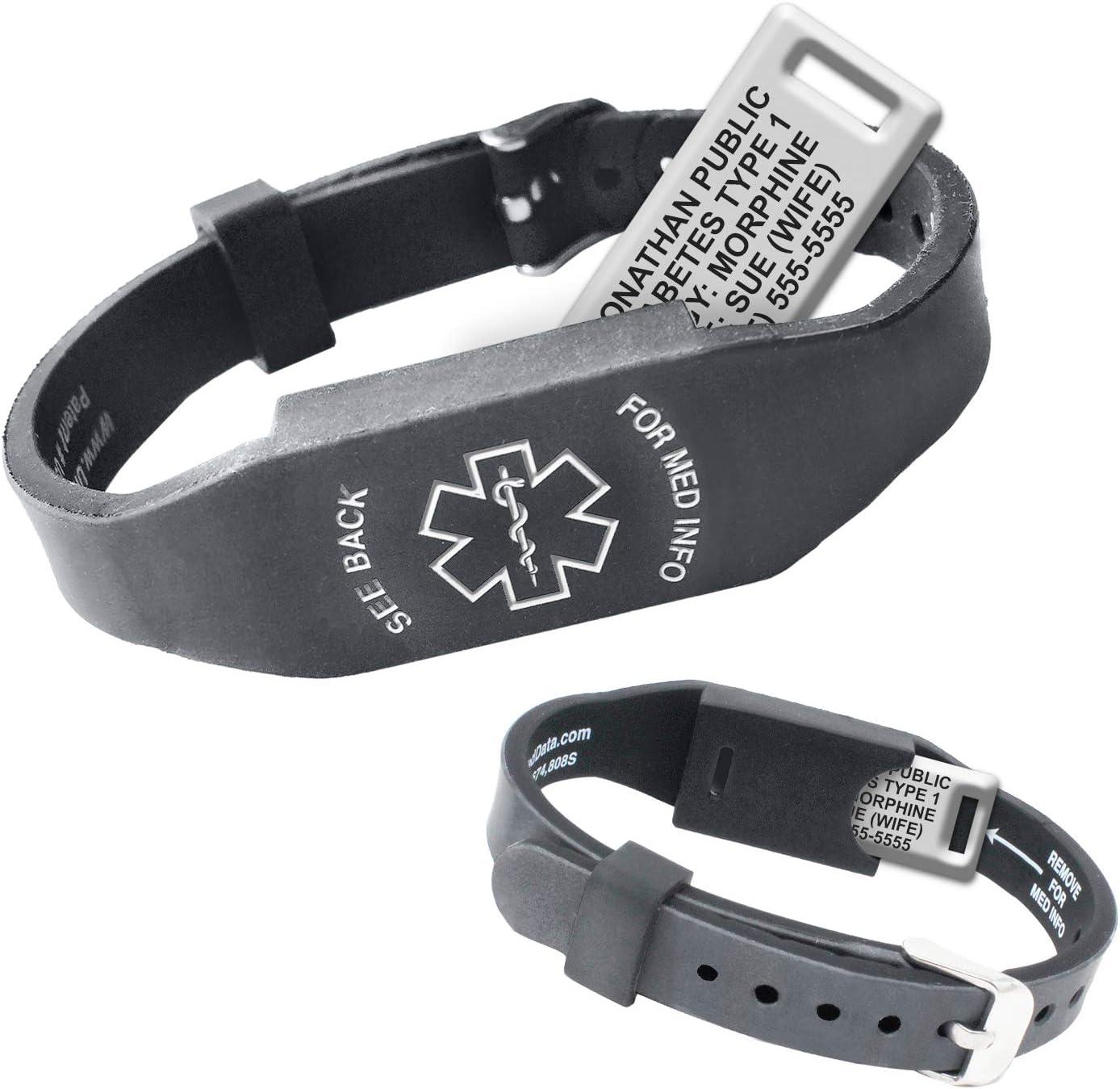 Waterproof Elite II Medical ID Bracelet (incl. 10 Lines Custom Engraving) - Gunmetal Gray