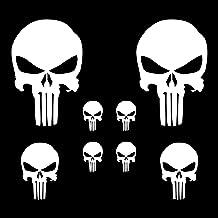 Autodomy Pegatinas Punisher Calavera Pack 8 Unidades para Coche o Moto (Blanco)