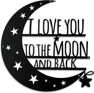 Ripeng I Love You to The Moon and Back Wall Art Moon Metal Wall Decorations Hanging Wall Plaque Sign with Love Quote Monog...