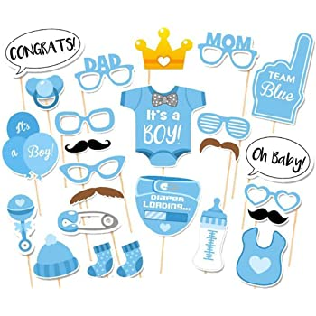 Amazon Com Laslu It S A Boy Baby Shower Party Photo Booth Props Kits On Sticks Set Of 25pcs Toys Games