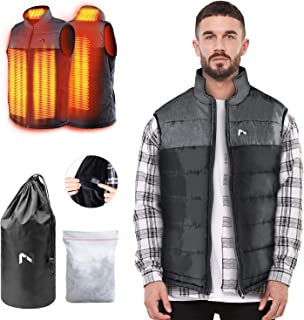 AFUNSO Heated Vest for Man/Woman, Electric Heating Coat Dual Independent Temperature Control Extra Collar Heated Hiking, Ice skating for Heated Jacket/Sweater/Thermal Underwear Battery Not Included