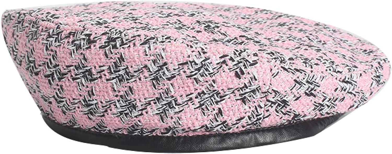 Woman Cotton Tartan Check Striped Plaid Beret Hat Fashion NewsboyHats Artist Hat for Female Ladies Girls