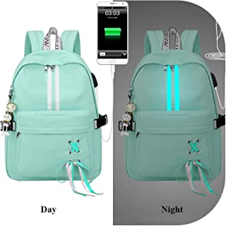 Fashion Anti Theft Reflective Waterproof Wbackpack USB Charge School Bags for Girls Travel Laptop Rucksack Bookbags,Green,30X13X40Cm