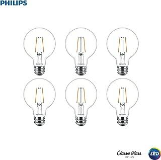 Philips LED Dimmable G25 Light Bulb, 180-Lumen, 2700-Kelvin, 2.7-Watt (25-Watt Equivalent), E26 Base, Clear, Soft White, 6-Pack