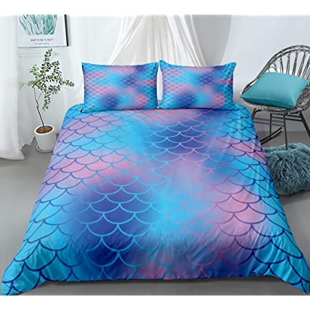 Luxury Home Collection 3 Piece Twin Size Kids//Teens//Girls Sheet Set with Pillowcases Under The Sea Mermaid Kingdom Dolphins Fish Sea Life Blue Purple Pink Yellow