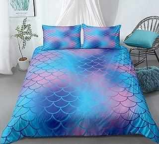 Mermaid Scale Duvet Cover Set Blue Scale Bedding Blue Scale Pattern Blue Kids Teens Bedding Sets Queen 1 Duvet Cover 2 Pillowcases (Queen, Blue)
