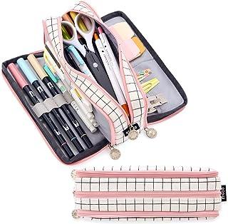 علبة أقلام رصاص كبيرة السعة 3 مقصورات من EASTHILL حقيبة أقلام كبيرة للتخزين من القماش للبنين والبنات والطلاب حقيبة الأدوات...