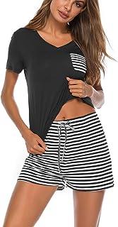 Lziizl Women 2 pc Pajama Set Short Sleeve V Neck Top Pants Sleepwear Pj Sets