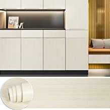 CHICHOME 29.9x472 Inch White Aspen Wood Wallpaper Peel and Stick Wood Grain Contact Paper Faux Wood Effect Adhesive Waterp...