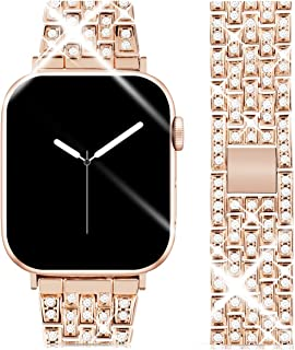 Goton Jewelry Band Compatible with Apple Watch Band 44mm 42mm, Women Luxury Diamond Bling Crystal Stainless Metal Replacement Strap for iWatch Band Series 4 3 2 1 (Rosegold - 44mm 42mm)