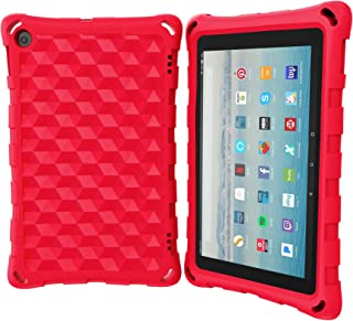 All-New Tablet 8 Case (Compatible with 6th/7th/8th Generation Tablets, 2016 and 2017 and 2018 Releases) - DJ&RPPQ Anti Slip Shockproof Light Weight Protective Cases [Kids Friendly] - Red