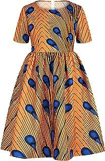Vimoisa Girls Boho 3D African Tradition Dress Print Maxi Floral Dress Pleated Dress Crewneck Short Sleeve