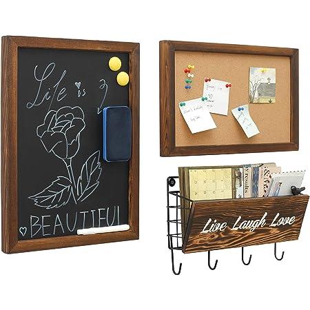 Pizarras decorativas rústicas para colgar y corcho y clasificador de correo con ganchos para llaves, montaje en pared, 3 en 1, estilo gratis para entrada, sala de estar, estudio