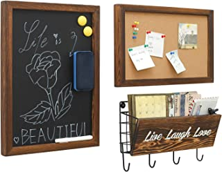 Decorative Chalkboards Rustic Hanging & Cork Board & Mail Sorters with Key Hooks Wall Mounted, 3 in 1 Free Style for Entryway, Living Room, Study