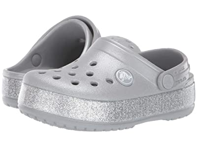 Crocs Kids Crocband Glitter Clog (Toddler/Little Kid/Big Kid) (Silver) Girl